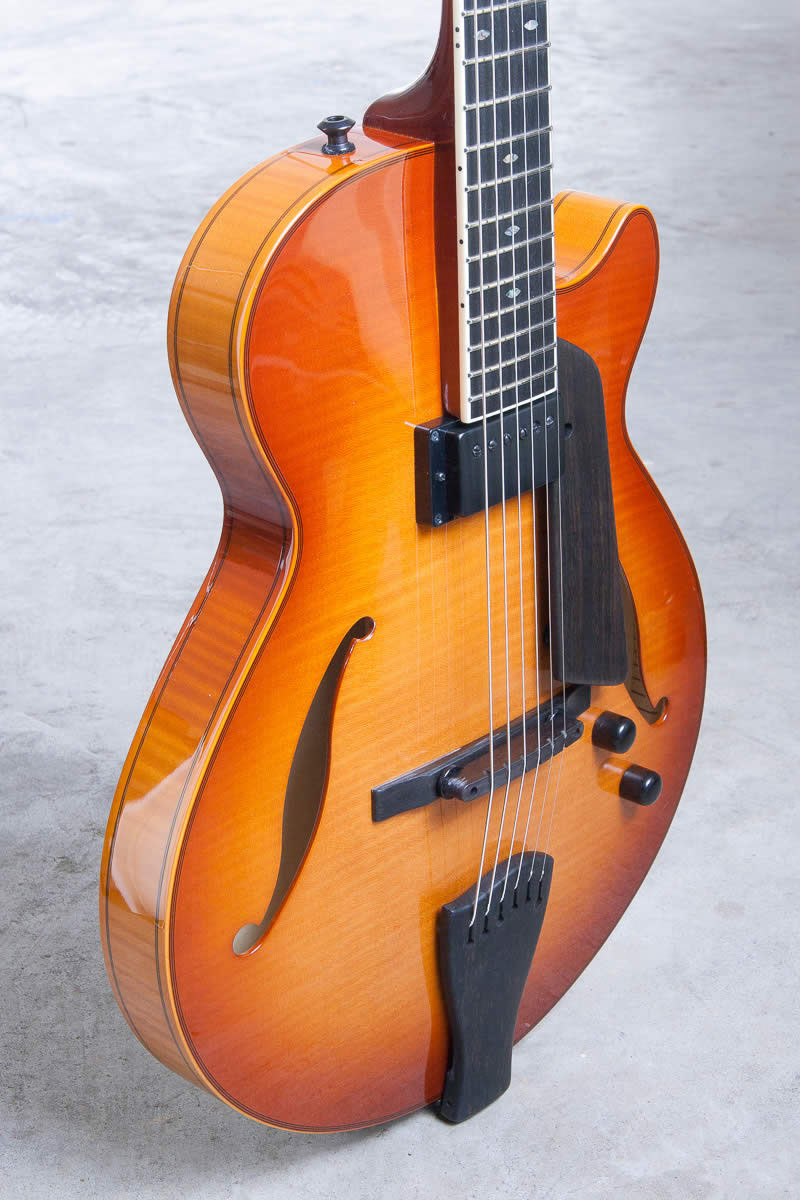 "15"" hollowbody jazz guitar with 24-¾"" scale length.   starting at $5050"